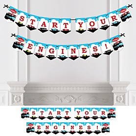 Let's Go Racing - Racecar - Race Car Birthday Party or Baby Shower Bunting Banner - Party Decorations - Start Your Engines