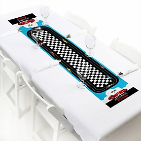 "Let's Go Racing - Racecar - Personalized Petite Race Car Birthday Party or Baby Shower Table Runner - 12"" x 60"""