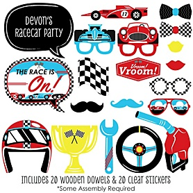 Let's Go Racing - Racecar - 20 Piece Race Car Birthday Party or Baby Shower Photo Booth Props Kit