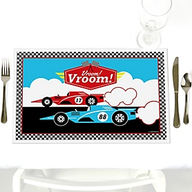 Let's Go Racing - Racecar - Party Table Decorations - Race Car Birthday Party or Baby Shower Placemats - Set of 12
