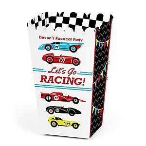 Let's Go Racing - Racecar - Personalized Race Car Birthday Party or Baby Shower Popcorn Favor Treat Boxes - Set of 12