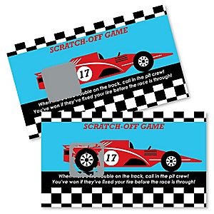 Let's Go Racing - Racecar - Race Car Birthday Party or Baby Shower Scratch Off Cards - 22 Cards