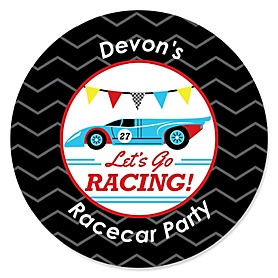 Let's Go Racing - Racecar - Personalized Race Car Birthday Party or Baby Shower Sticker Labels - 24 ct