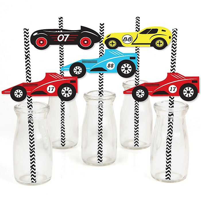 Let's Go Racing - Racecar - Paper Straw Decor - Race Car Birthday Party or Baby Shower Striped Decorative Straws - Set of 24