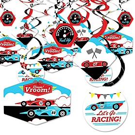 Let's Go Racing - Racecar - Race Car Birthday Party or Baby Shower Hanging Decor - Party Decoration Swirls - Set of 40