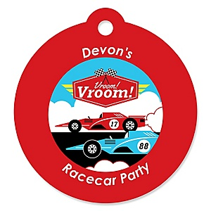 Let's Go Racing - Racecar - Personalized Race Car Birthday Party or Baby Shower Favor Gift Tags - 20 ct