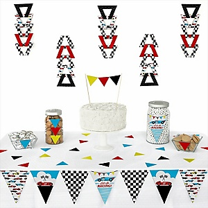 Let's Go Racing - Racecar -  Triangle Race Car Birthday Party or Baby Shower Decoration Kit - 72 Piece