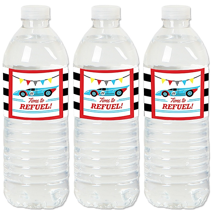 Let's Go Racing - Racecar - Race Car Birthday Party or Baby Shower Water Bottle Sticker Labels - Set of 20