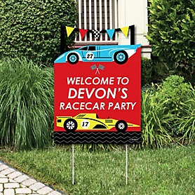 Let's Go Racing - Racecar - Party Decorations - Race Car Birthday Party or Baby Shower Personalized Welcome Yard Sign