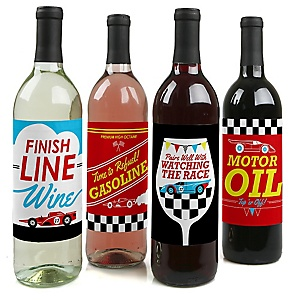 Let's Go Racing - Racecar - Wine Bottle Gift Labels - Race Car Party Decorations for Women and Men - Wine Bottle Label Stickers - Set of 4