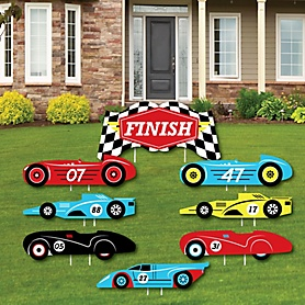 Let's Go Racing - Racecar - Yard Sign & Outdoor Lawn Decorations - Race Car Birthday Party or Baby Shower Yard Signs - Set of 8