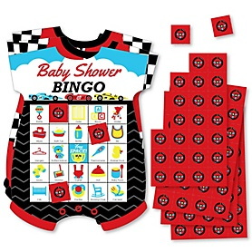Let's Go Racing - Racecar - Picture Bingo Cards and Markers - Race Car Baby Shower Shaped Bingo Game - Set of 18