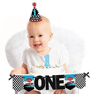 Let's Go Racing - Racecar 1st Birthday - First Birthday Boy Smash Cake Decorating Kit - Race Car High Chair Decorations
