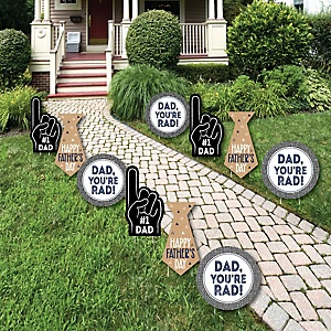 My Dad is Rad - Tie and #1 Dad Hand Lawn Decorations - Outdoor Father's Day Yard Decorations - 10 Piece
