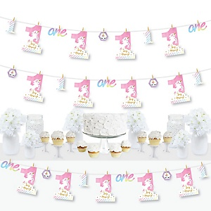 1st Birthday Rainbow Unicorn - Magical Unicorn First Birthday Party DIY Decorations - Clothespin Garland Banner - 44 Pieces