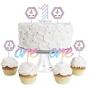 1st Birthday Rainbow Unicorn - Dessert Cupcake Toppers - Magical Unicorn First Birthday Party Clear Treat Picks - Set of 24