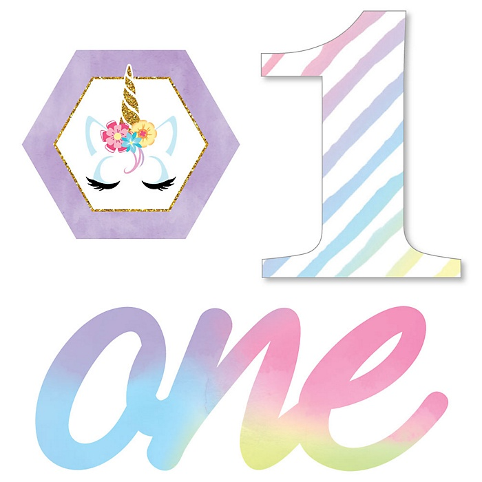 1st Birthday Rainbow Unicorn - DIY Shaped Magical Unicorn First Birthday Party Cut-Outs - 24 ct