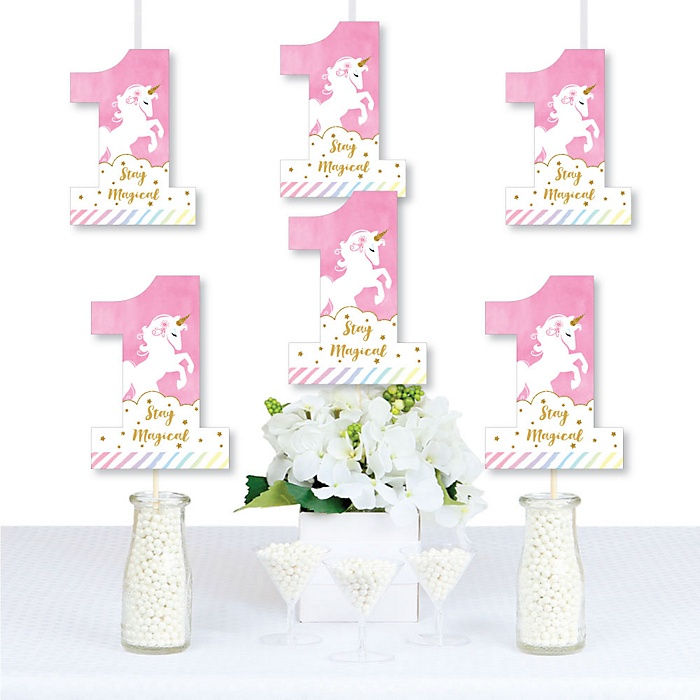 1st Birthday Rainbow Unicorn - One Shaped Decorations DIY Magical Unicorn First Birthday Party Essentials - Set of 20