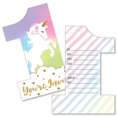 1st Birthday Rainbow Unicorn Shaped Fill In Invitations Magical