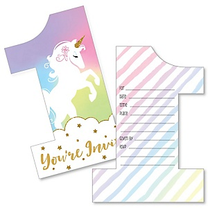 1st Birthday Rainbow Unicorn - Shaped Fill-In Invitations - Magical Unicorn First Birthday Party Invitation Cards with Envelopes - Set of 12