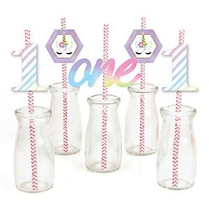 1st Birthday Rainbow Unicorn - Paper Straw Decor - Magical Unicorn First Birthday Party Striped Decorative Straws - Set of 24