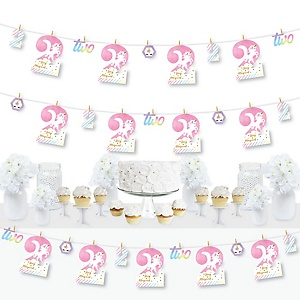 2nd Birthday Rainbow Unicorn - Magical Unicorn Second Birthday Party DIY Decorations - Clothespin Garland Banner - 44 Pieces