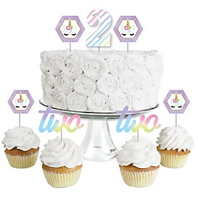 2nd Birthday Rainbow Unicorn - Dessert Cupcake Toppers - Magical Unicorn Second Birthday Party Clear Treat Picks - Set of 24