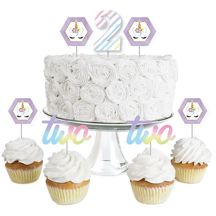 2nd Birthday Rainbow Unicorn - Dessert Cupcake Toppers - Magical Unicorn Second Birthday Party Clear Treat Picks - Set of 24