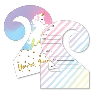 2nd Birthday Rainbow Unicorn - Shaped Fill-In Invitations - Magical Unicorn Second Birthday Party Invitation Cards with Envelopes - Set of 12
