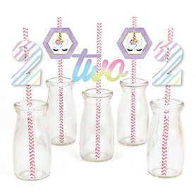 2nd Birthday Rainbow Unicorn - Paper Straw Decor - Magical Unicorn Second Birthday Party Striped Decorative Straws - Set of 24