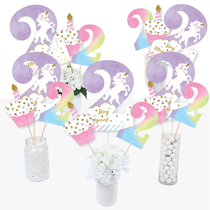 2nd Birthday Rainbow Unicorn - Magical Unicorn Second Birthday Party Centerpiece Sticks - Table Toppers - Set of 15