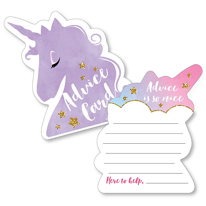Rainbow Unicorn - Wish Card Magical Unicorn Baby Shower Activities - Shaped Advice Cards Game - Set of 20