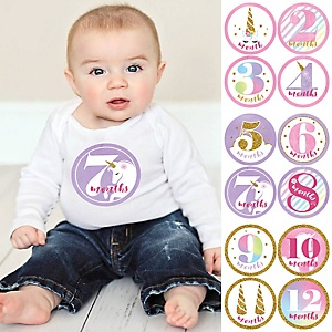 Baby Girl Monthly Sticker Set - Rainbow Unicorn - Baby Shower Gift Ideas - 12 Piece