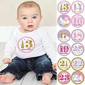 Baby Girl Second Year Monthly Sticker Set - Rainbow Unicorn - Baby Shower Gift Ideas -  13 - 24 Months Stickers