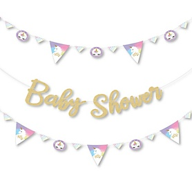 Rainbow Unicorn - Magical Unicorn Baby Shower Letter Banner Decoration - 36 Banner Cutouts and No-Mess Real Gold Glitter Baby Shower Banner Letters