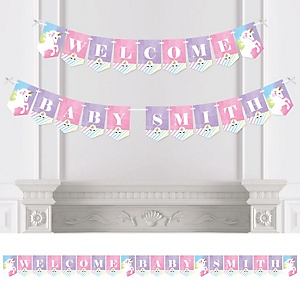 Rainbow Unicorn - Personalized Magical Unicorn Baby Shower or Birthday Party Bunting Banner & Decorations