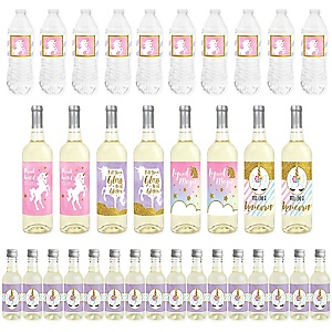 Rainbow Unicorn - Mini Wine Bottle Labels, Wine Bottle Labels and Water Bottle Labels - Magical Unicorn Baby Shower or Birthday Party Decorations - Beverage Bar Kit - 34 Pieces