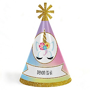 Rainbow Unicorn - Personalized Cone Happy Birthday Party Hats for Kids and Adults - Set of 8 (Standard Size)