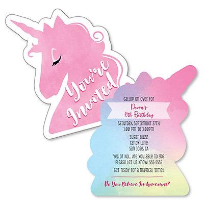 Rainbow Unicorn Shaped Birthday Party Invitations Set Of 12