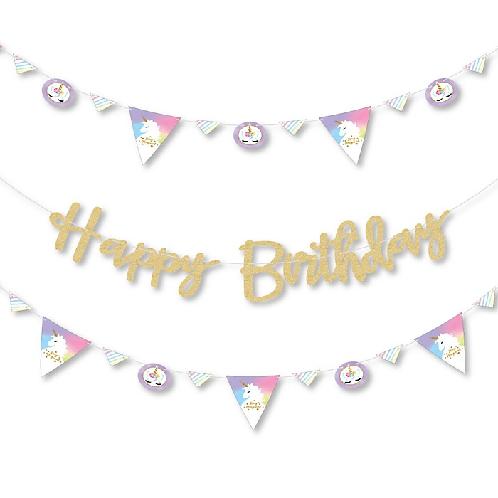 Rainbow Unicorn - Birthday Party Letter Banner Decoration - 36 Banner Cutouts and No-Mess Real Gold Glitter Happy Birthday Banner Letters
