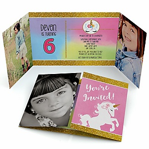 Rainbow Unicorn - Personalized Birthday Party Photo Invitations - Set of 12