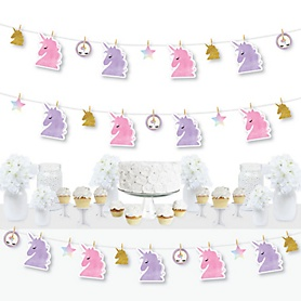 Rainbow Unicorn - Magical Unicorn Baby Shower or Birthday Party DIY Decorations - Clothespin Garland Banner - 44 Pieces
