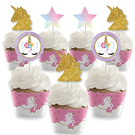 Rainbow Unicorn - Cupcake Decorations - Magical Unicorn Baby Shower or Birthday Party Cupcake Wrappers and Treat Picks Kit - Set of 24