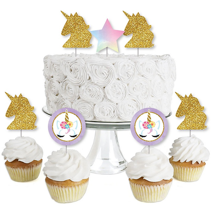 Rainbow Unicorn - Dessert Cupcake Toppers - Magical Unicorn Baby Shower or Birthday Party Clear Treat Picks - Set of 24