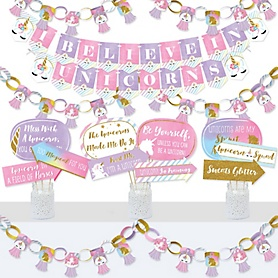Rainbow Unicorn - Banner and Photo Booth Decorations - Magical Unicorn Baby Shower or Birthday Party Supplies Kit - Doterrific Bundle