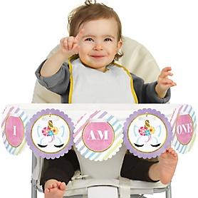 Rainbow Unicorn 1st Birthday - I am One - First Birthday High Chair Banner