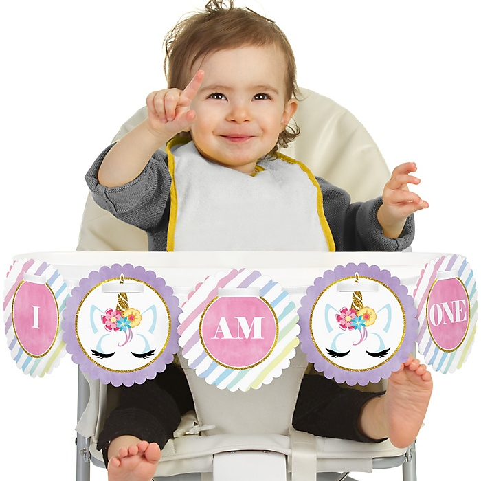 Rainbow Unicorn 1st Birthday - I am One - First Birthday High Chair Banner
