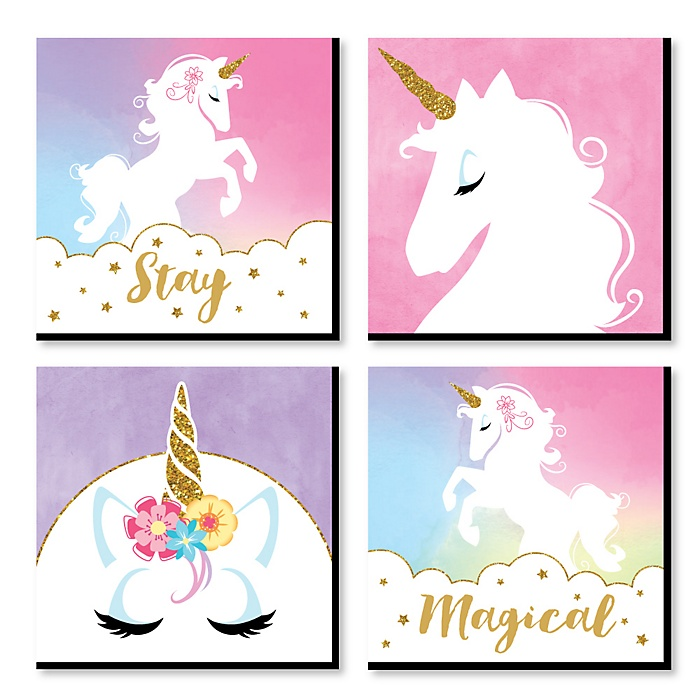 Rainbow Unicorn - Kids Room, Nursery Decor and Home Decor - 11 x 11 inches Nursery Wall Art - Set of 4 Prints for Baby's Room