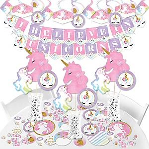 Rainbow Unicorn - Magical Unicorn Baby Shower or Birthday Party Supplies - Banner Decoration Kit - Fundle Bundle