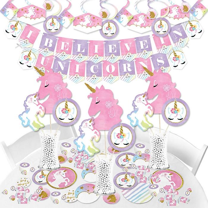 Rainbow Unicorn - Magical Unicorn Baby Shower or Birthday Party Supplies - Banner Decoration Kit - Fundle Bundle